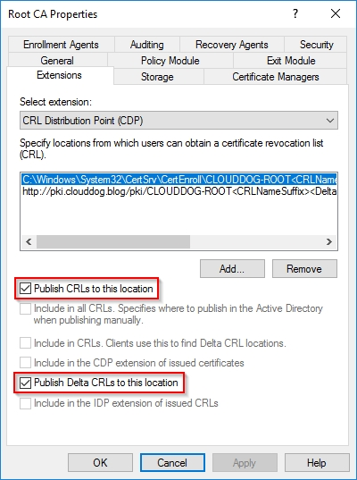 Initial Configuration of the Root Certificate Authority